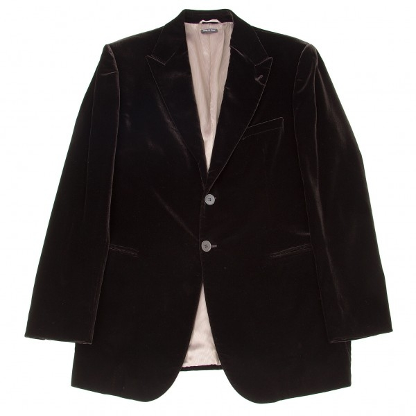 【SALE】黒タグ ジョルジオ アルマーニGIORGIO ARMANI BORGO21 ピークドラペルベロア2Bジャケット こげ茶54【メンズ】