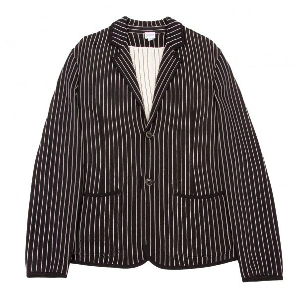 【SALE】アルマーニ コレッツィオーニARMANI COLLEZIONI レーヨンストライプジャケット 黒白L【メンズ】