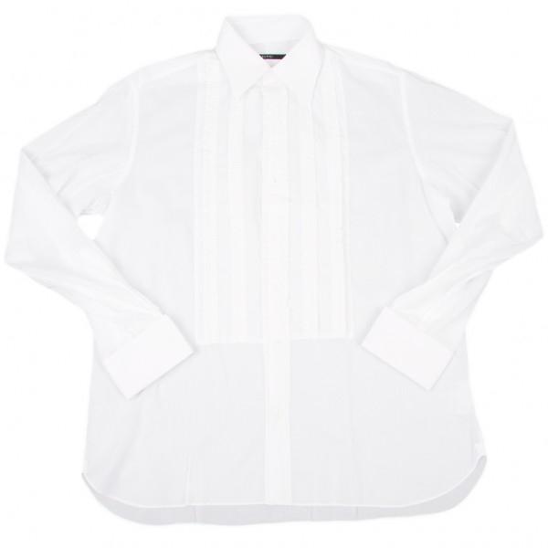 【SALE】グッチGUCCI フリルデザインドレスシャツ 白43 17【メンズ】
