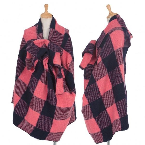 【SALE】新品!ヨウジヤマモト ファム FEMME 市松柄変形デザインウールナイロンニットポンチョ 紺ピンク2