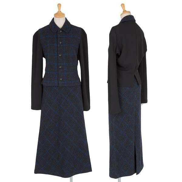 【SALE】トリコ コムデギャルソンtricot COMME des GARCONS 切替チェックセットアップスーツ 青黒グレーM位・S