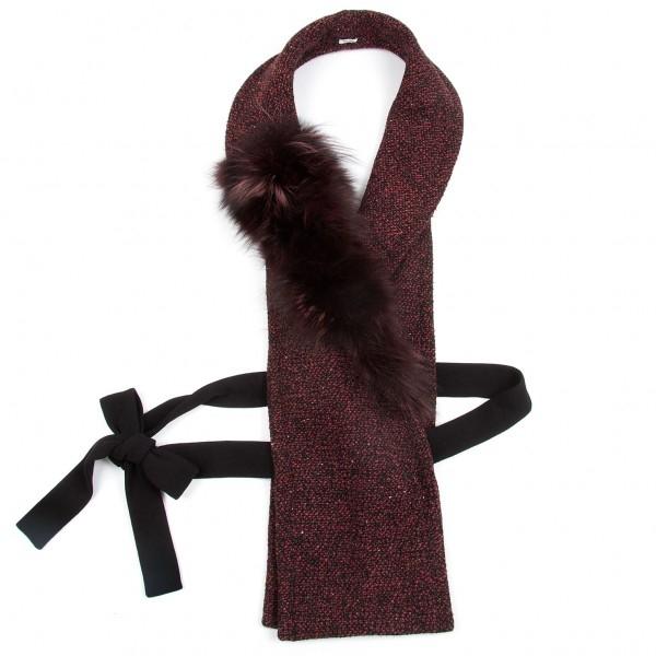 54d44d102783 ショッピング · その他 · 【SALE】ミュウミュウmiumiu 黒赤 フォックスファーツィード付け衿