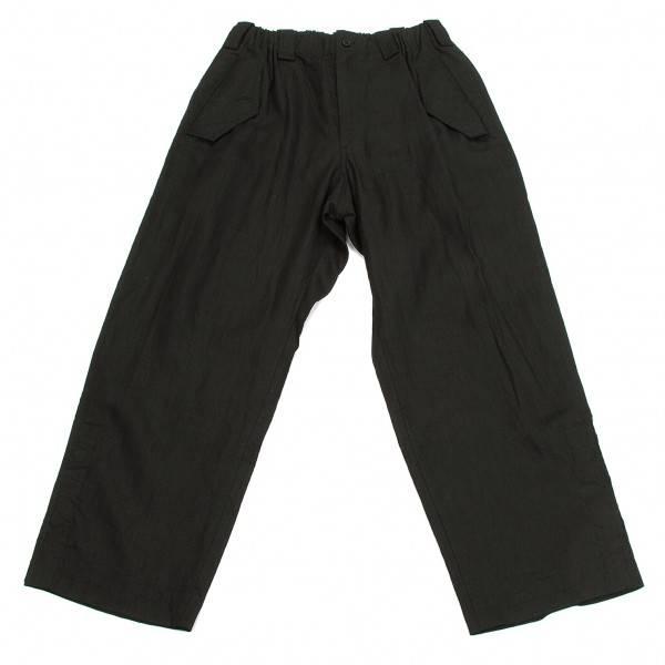 【SALE】ワイズフォーメンY's for men ウエストゴム裾スリットデカフラップリネンパンツ 黒4【メンズ】