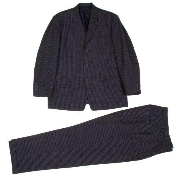 【SALE】ワイズフォーメンY's for men ポリウールストライプセットアップスーツ 紺S/M【中古】