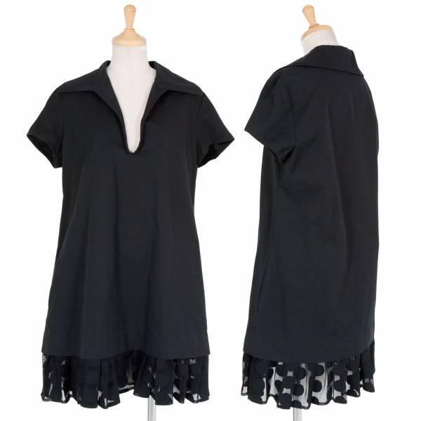 【SALE】リミフゥLIMIfeu コットン裾水玉レース半袖ワンピース 黒S【中古】