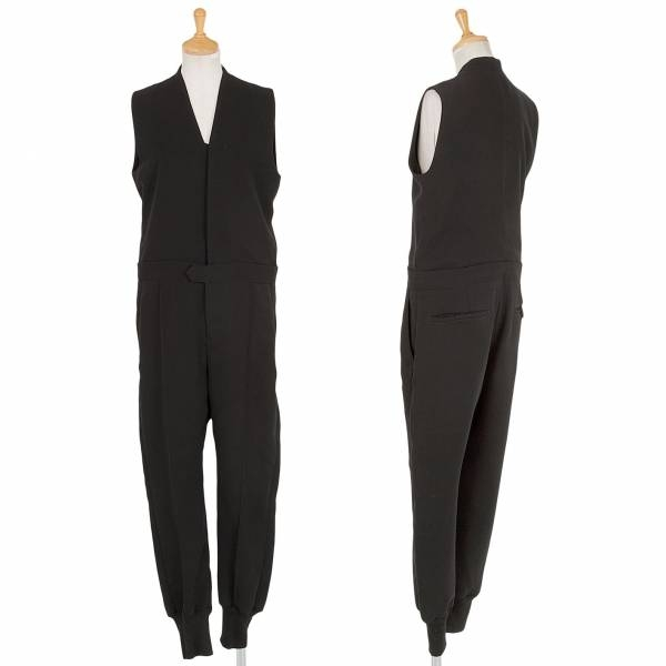 【SALE】ワイズY's ノースリーブデザイン裾リブ切替ジャンプスーツ 黒1【中古】