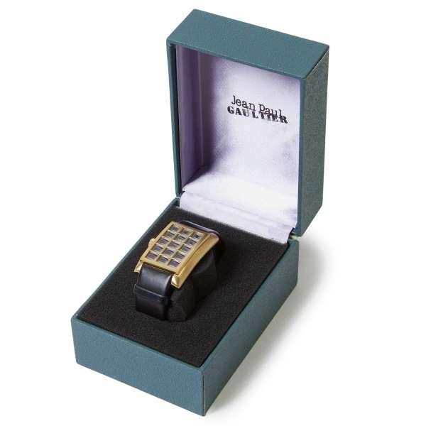 【SALE】ジャンポールゴルチエJean Paul GAULTIER 格子デザイン腕時計 黒金【中古】