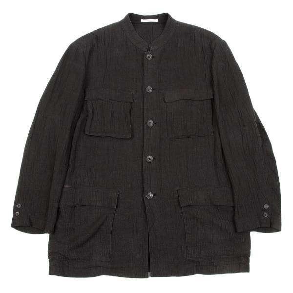 【SALE】パパスPapas リネン楊柳マオカラージャケット チャコール46【メンズ】