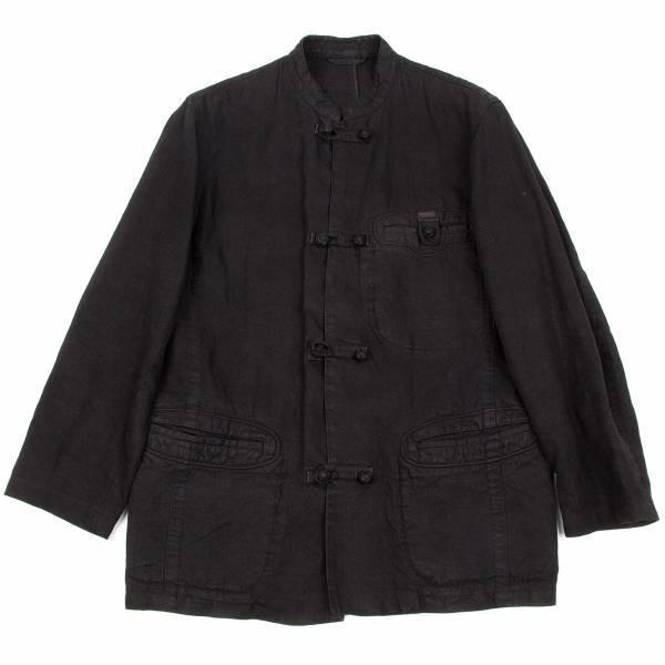 【SALE】パパスPapas リネンチャイナボタンマオカラージャケット 黒46【メンズ】