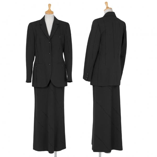【SALE】ジャンポールゴルチエ ファムJean Paul GAULTIER FEMME クラッシュ加工デザインセットアップスーツ 黒40【中古】