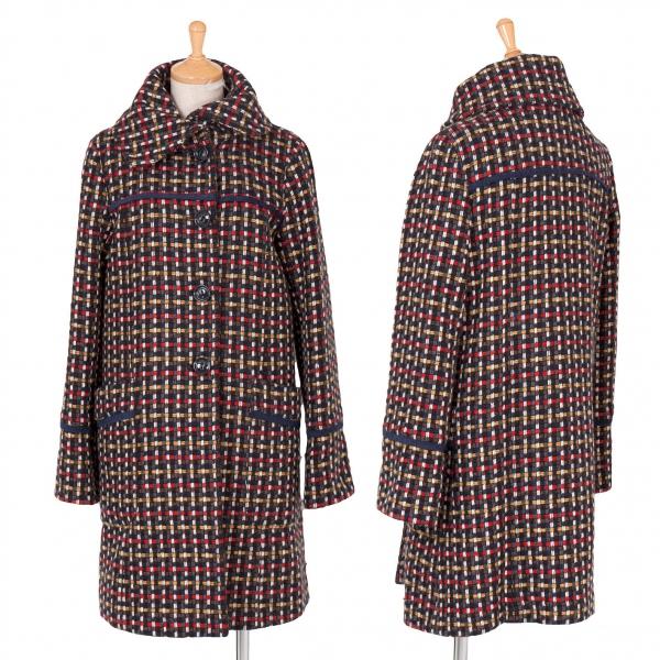 【SALE】マックスアンドコーMAX&Co 格子柄織りコート 紺グレー赤38【レディース】