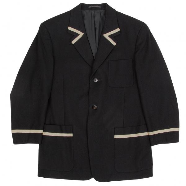 【SALE】ヨウジヤマモトプールオムYohji Yamamoto POUR HOMME テープデザイン起毛ウール2Bジャケット 黒S【中古】