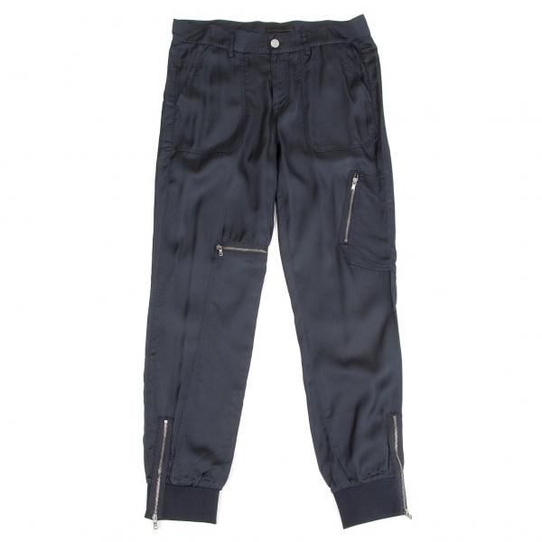 【SALE】ディーゼル ブラックゴールドDIESEL BLACK GOLD レーヨンコットン裾リブジップポケットパンツ 紺38【レディース】