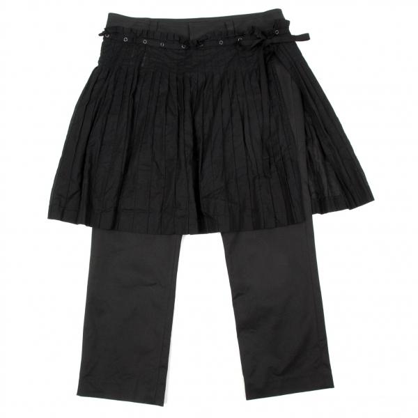 【SALE】ジャンポールゴルチエJean Paul GAULTIER プリーツラップスカート付きクロップドパンツ 黒40【中古】