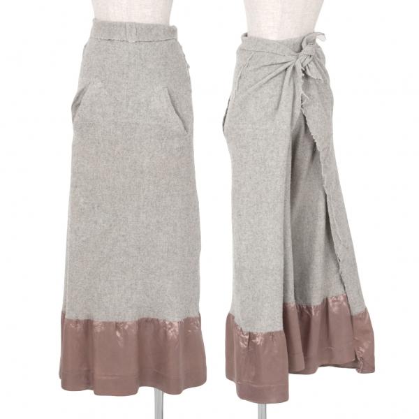 【SALE】コムデギャルソンCOMME des GARCONS 縮絨ウール裾切替ラップスカートパンツ グレーS【中古】