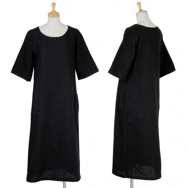 【SALE】ワイズY's ウール半袖ワンピース 黒S【中古】