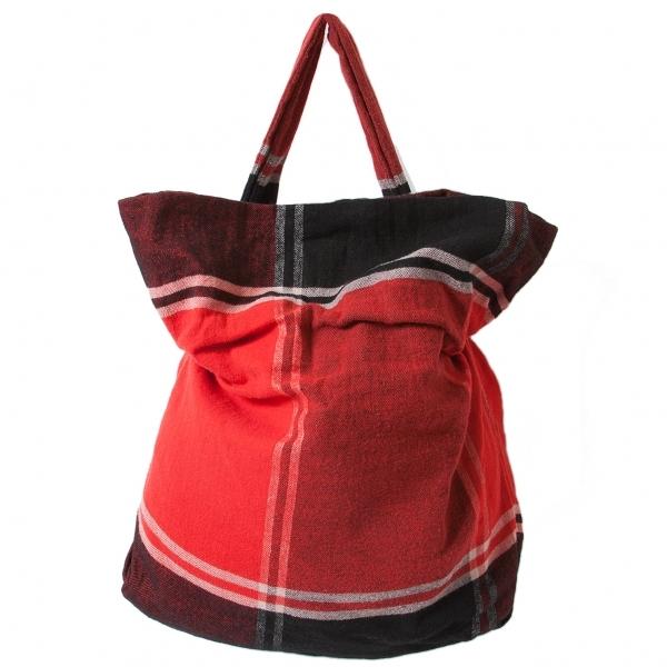 【SALE】ワイズY's リネンウール起毛チェックショルダーバッグ 赤黒【中古】