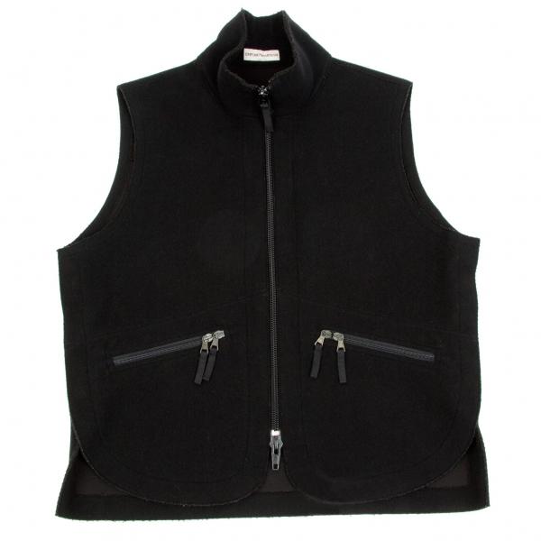 【SALE】エンポリオアルマーニEMPORIO ARMANI 混紡ウール裁ち切りデザインベスト 黒50(L位)【中古】
