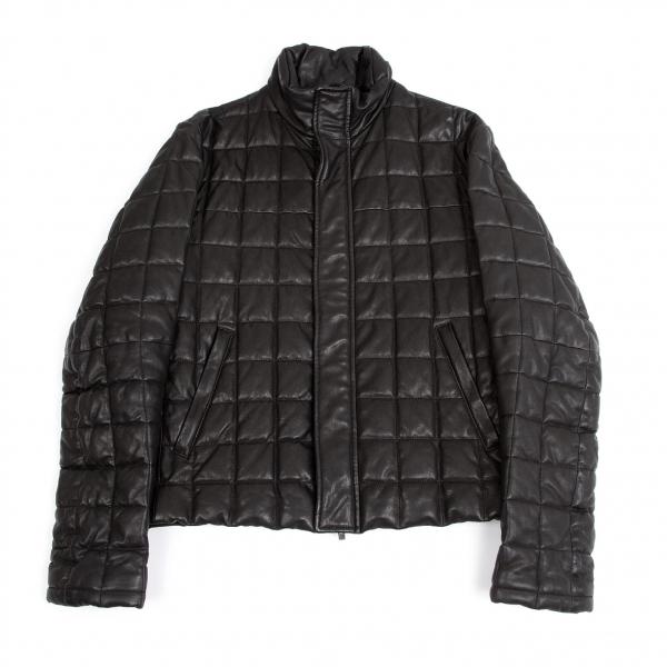 【SALE】黒タグ ジョルジオ アルマーニGIORGIO ARMANI BORGO21 ラムレザーキルティングジャケット 黒54【メンズ】