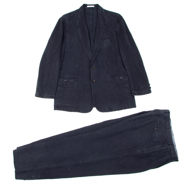 パパスPapas リネンノッチドラペルインディゴジャケットセットアップスーツ 紺M/LL【中古】