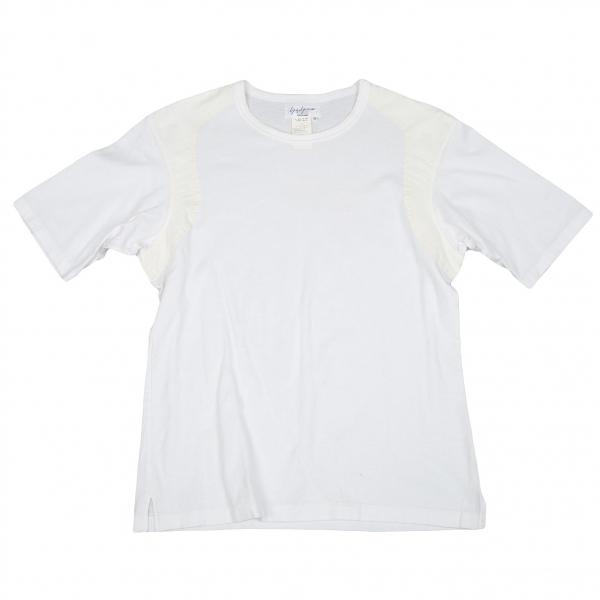 【SALE】ヨウジヤマモト プールオムYohji Yamamoto POUR HOMME カーブ切替Tシャツ 白クリームM【メンズ】