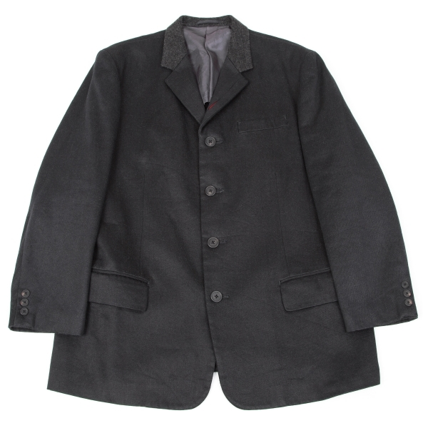 【SALE】ワイズフォーメンY's for men リネンウールラペル切替デザインジャケット 黒3【メンズ】