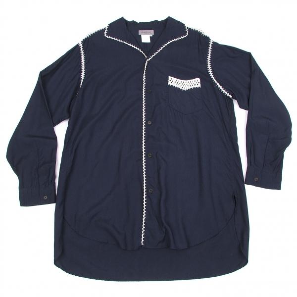 【SALE】ヨウジヤマモト プールオムYohji Yamamoto POUR HOMME レーヨンステッチデザインシャツ 紺白M【メンズ】