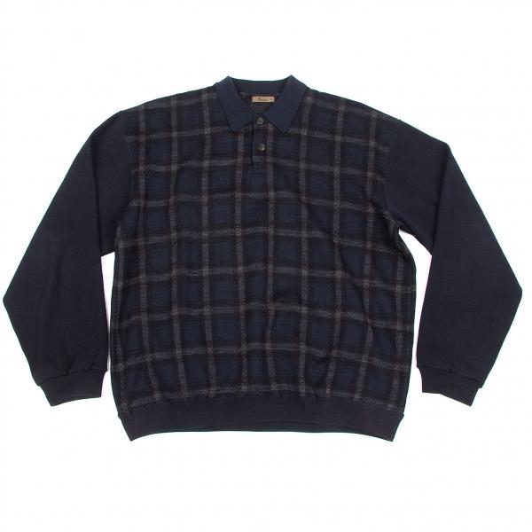 【SALE】ワイズフォーメンY's for men ウールチェック長袖ニットポロシャツ 紺黒グレーM位【メンズ】