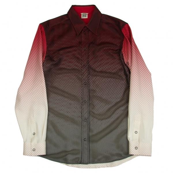 ゴルチエトゥーザパワーオブトゥーGAULTIER2 メッシュレイヤードグラデーションドットプリントシャツ 黒赤白38【中古】