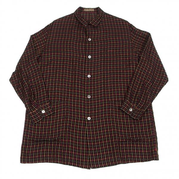 ワイズフォーメンY's for men チェック織りシャツジャケット 黒黄緑赤M位【中古】