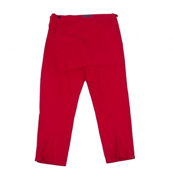 【SALE】ヨウジヤマモト ノアールYohji Yamamoto NOIR リネンコットン裾ジップスカートデザインパンツ 赤1【レディース】