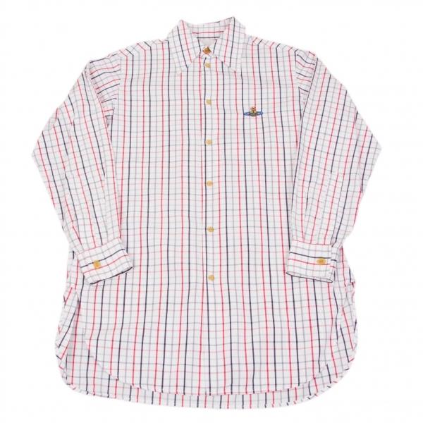 ヴィヴィアンウエストウッドVivienne Westwood オーブ刺繍グラフチェックシャツ 白黒赤他M位【中古】