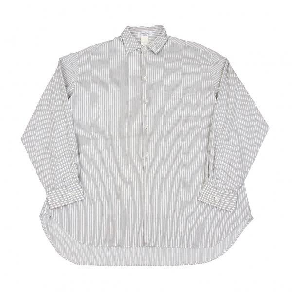 【SALE】ヨウジヤマモト プールオムYohji Yamamoto POUR HOMME ワイヤーカラーストライプシャツ オフエンジ緑M位【メンズ】