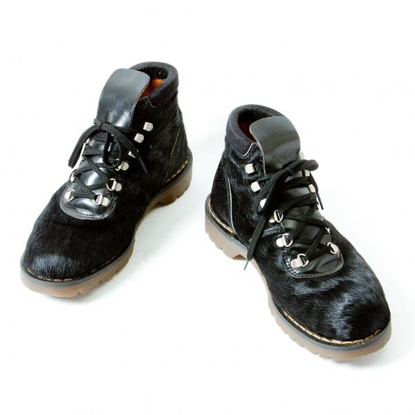 ワイズフォーメン×ドクターマーチンY's for men× Dr Martens ハラコレザーマウンテンブーツ 黒35(26.5位)【中古】