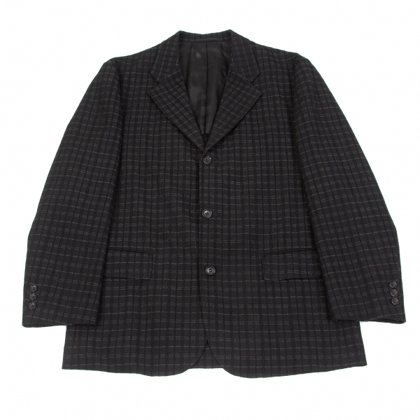 【SALE】コムデギャルソン オムCOMME des GARCONS HOMME ウールチェック刺繍ジャケット 黒グレーM【メンズ】