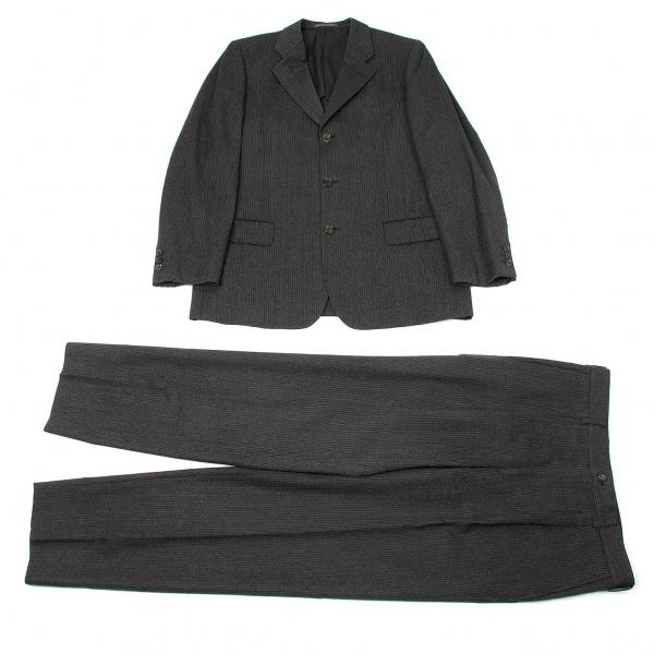 【SALE】コムデギャルソン オムCOMME des GARCONS HOMME ピンストライプウールセットアップスーツ チャコール白L/LL【メンズ】