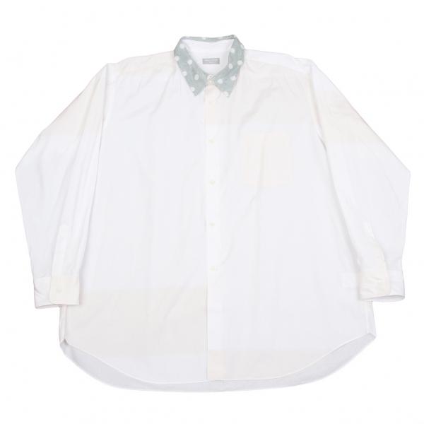 コムデギャルソンオムCOMME des GARCONS HOMME 襟ドット切替コットンシャツ 白グレーM位【中古】