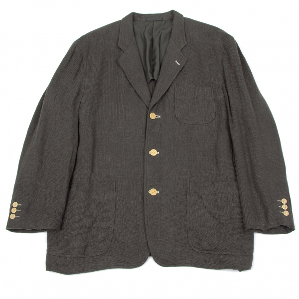 【SALE】コムデギャルソン オムCOMME des GARCONS HOMME リネン配色ボタンホール3Bジャケット グレーS【メンズ】