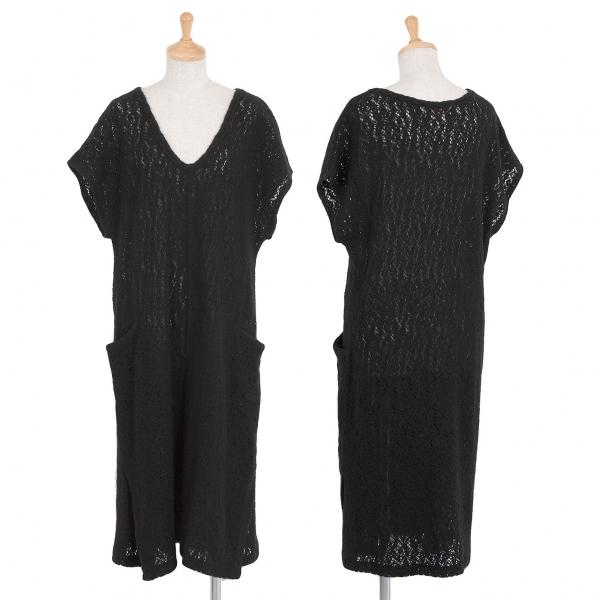 ワイズY's ウール混合柄織りニット半袖ワンピース 黒2【中古】