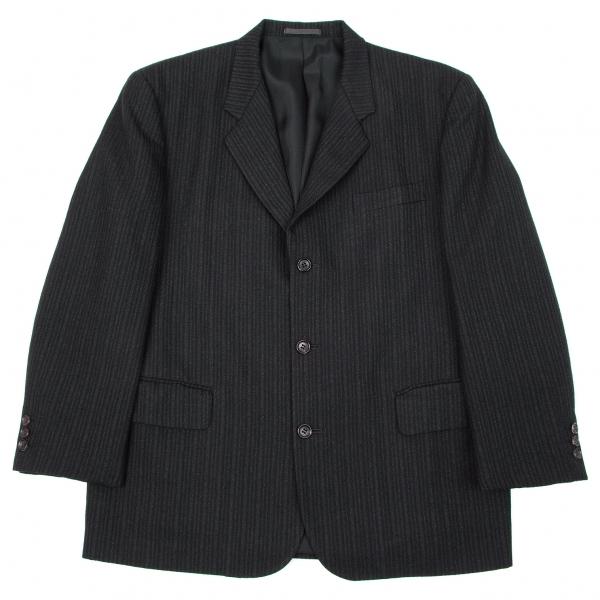 コムデギャルソン オムCOMME des GARCONS HOMME ストライプ織りウールジャケット チャコールS【メンズ】