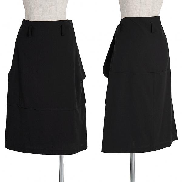 ワイズY's ウールギャバ切替台形スカート 黒M位【中古】【レディース】