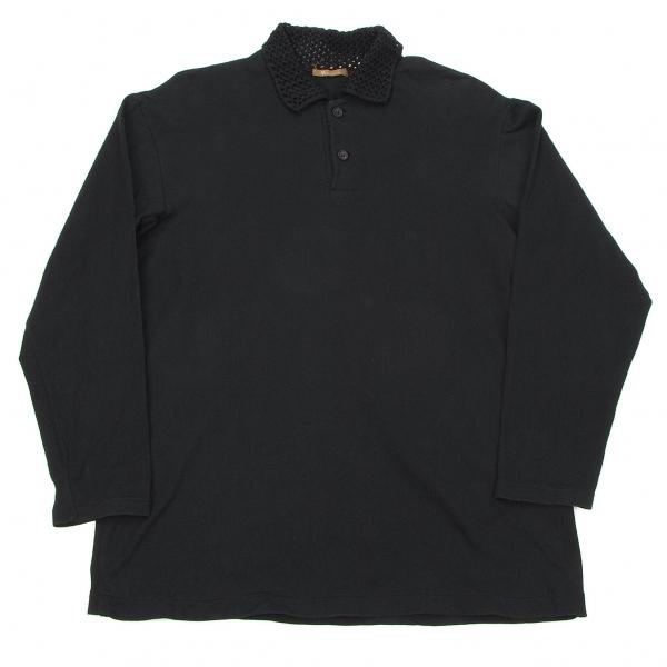 ワイズフォーメンY's for men 襟ニット切替長袖ポロシャツ 黒M位【中古】【メンズ】