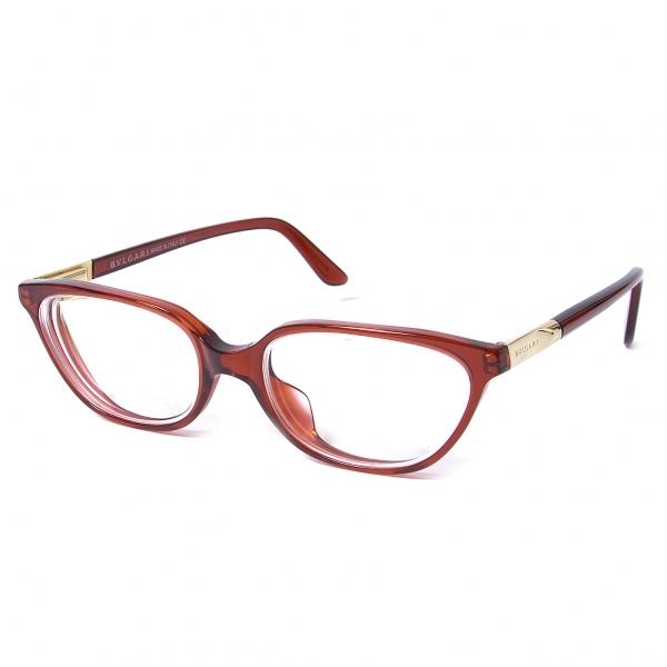 ブルガリBVLGARI P036511 401 506 メガネ眼鏡 度入りクリアレンズ 赤52□17 140【中古】