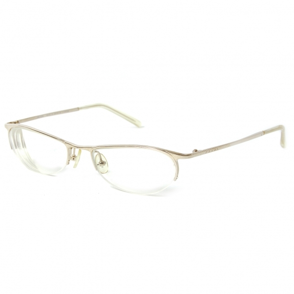 プラダPRADA VPR 57D 5AK-101 ナイロールメガネ眼鏡 度入りクリアレンズ ゴールド52□18 135【中古】