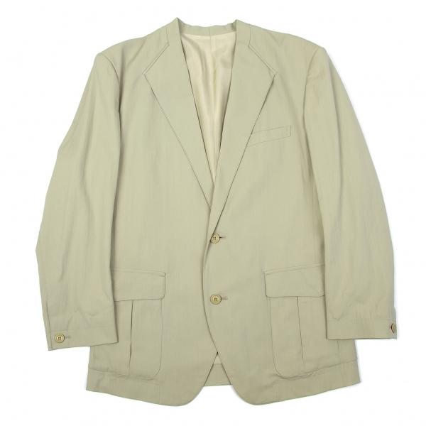イッセイミヤケ メンISSEY MIYAKE MEN ウールナイロン衿デザインジャケット グリーンベージュM【中古】
