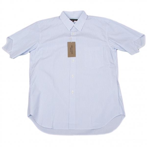 新品!コムデギャルソンオムプリュスCOMME des GARCONS HOMME PLUS 半袖カッティングストライプシャツ 白青XS