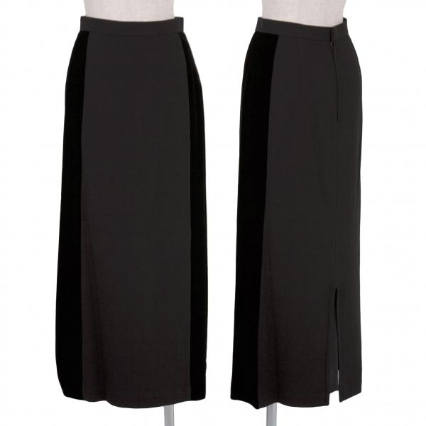 トリコ コムデギャルソンtricot COMME des GARCONS ベロア切替デザインスカート 黒S【中古】 【レディース】