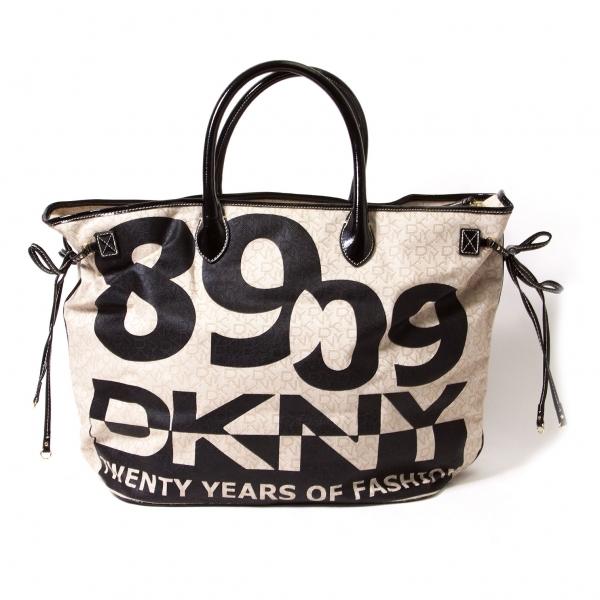 ダナキャランDKNY キャンバスロゴ織りトートバッグ 黒ベージュ【中古】 【レディース】