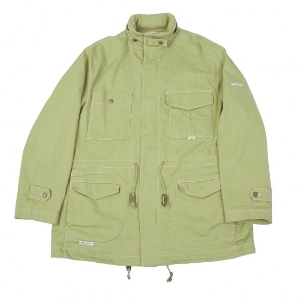 パパスPapas フード付きダブルジップストレッチM-65ジャケット 淡グリーンLL【中古】 【メンズ】