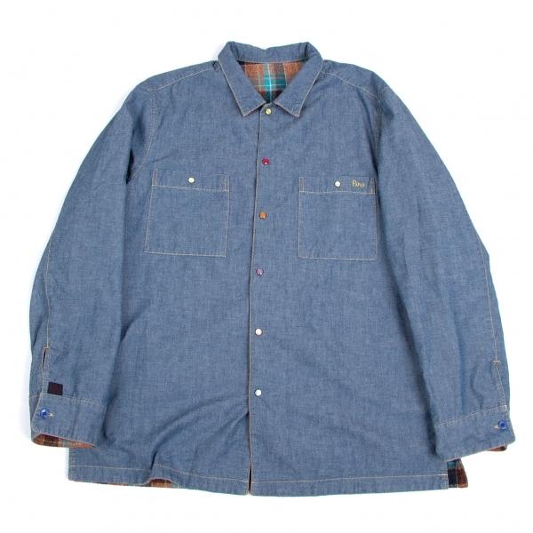 パパスPapas チェックダンガリーリバーシブルシャツジャケット ブルーレンガ紺他52(LL)【中古】 【メンズ】
